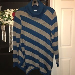 NY and Co. | Cowl Neck Striped Tunic Sweater